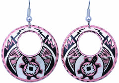 Native Turtle Round Cut-out Earrings