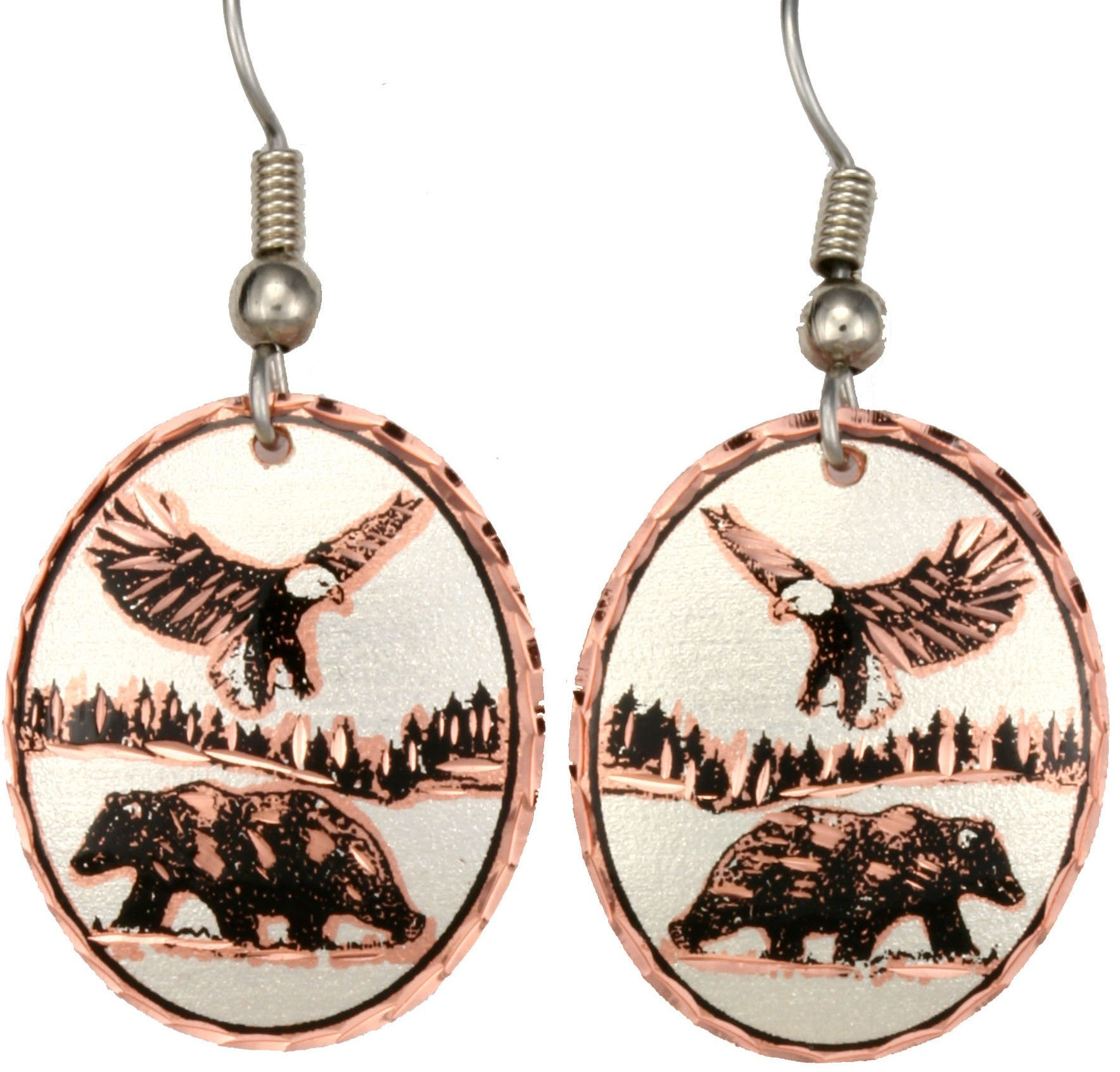 Bear & Eagle Copper Earrings
