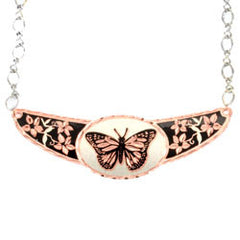 Butterfly Copper Diamond Cut Choker