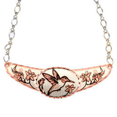 Hummingbird Copper Diamond Cut Choker