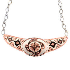 Native Wheel of Life Copper Diamond Cut Choker