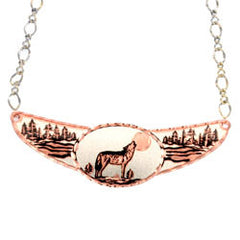 Wolf Copper Diamond Cut Choker