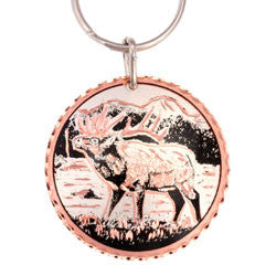 Elk  Round Key Chain