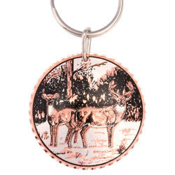 Deer  Round Key Chain