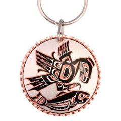 Native Eagle and Salmon  Round Key Chain