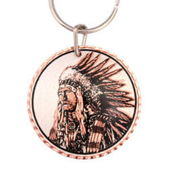 Native Indian  Round Key Chain