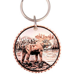 Moose  Round Key Chain