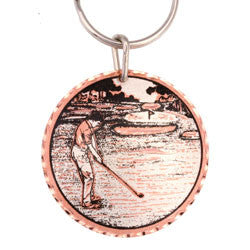 Golfer  Round Key Chain