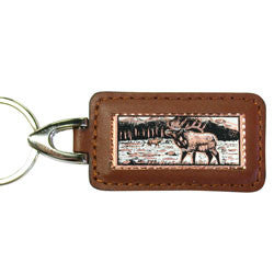 Elk Rectangular Leather Key chain