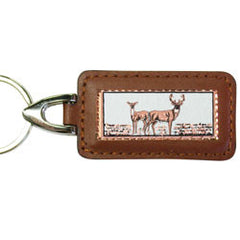 Deer Rectangular Leather Key chain