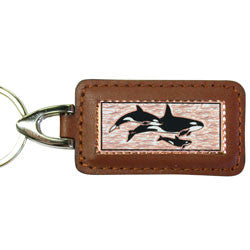 Killer Whale Rectangular Leather Key chain