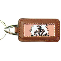 Western Cowboy Stampede Rectangular Leather Key chain