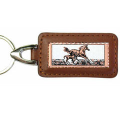 Horse Rectangular Leather Key chain