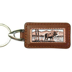 Moose Rectangular Leather Key chain