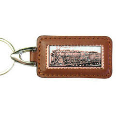 Train Rectangular Leather Key chain