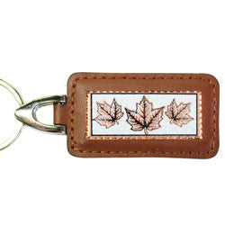 Maple Leaf Rectangular Leather Key chain