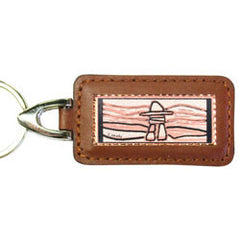 Native Inukshuk Rectangular Leather Key chain