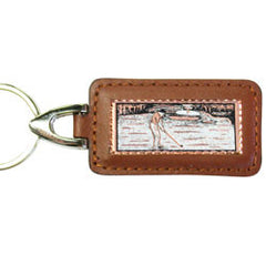 Golfer Rectangular Leather Key chain