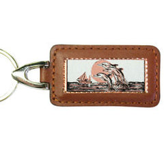 Dolphin Rectangular Leather Key chain