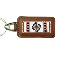 Native Wheel of Life Rectangular Leather Key chain