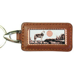 Wolf Rectangular Leather Key chain