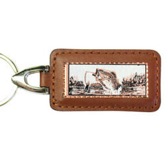 Fishing Rectangular Leather Key chain