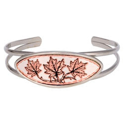 Maple Leaf Long Oval Wire Bracelet