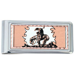 Western Cowboy Stampede Money Clip Rectangular