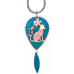 Cat Blue Patina Necklace