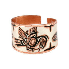 Native Eagle and Salmon Copper Ring
