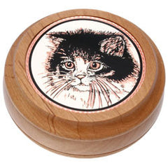 Cat Round Wood Box