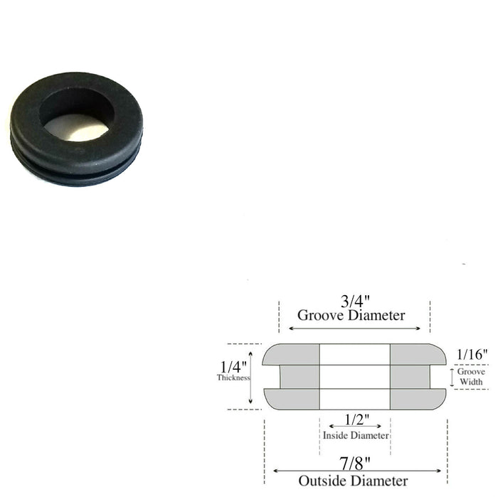 "1/2"" Inside Diameter Rubber Grommet - 1/16"" GW - Fits 3/4"" Panel Hole"