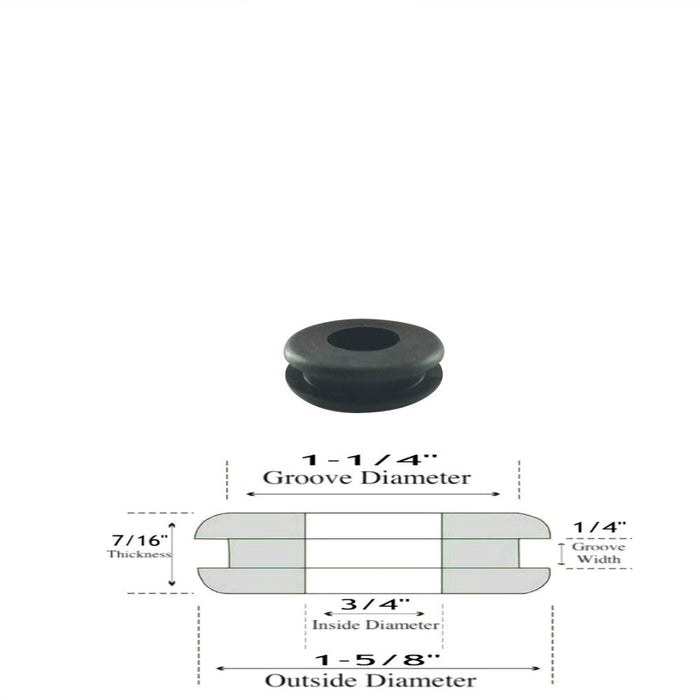 "3/4"" ID Rubber Grommets - 1/4"" Gw - 7/16"" Thick- Fits 1-1/4 Panel Hole"