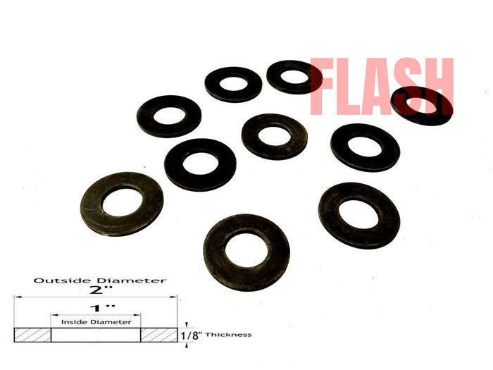 "Lot of 10 Neoprene Rubber Washers - 2"" OD X 1"" ID X 1/8"" Thickness"