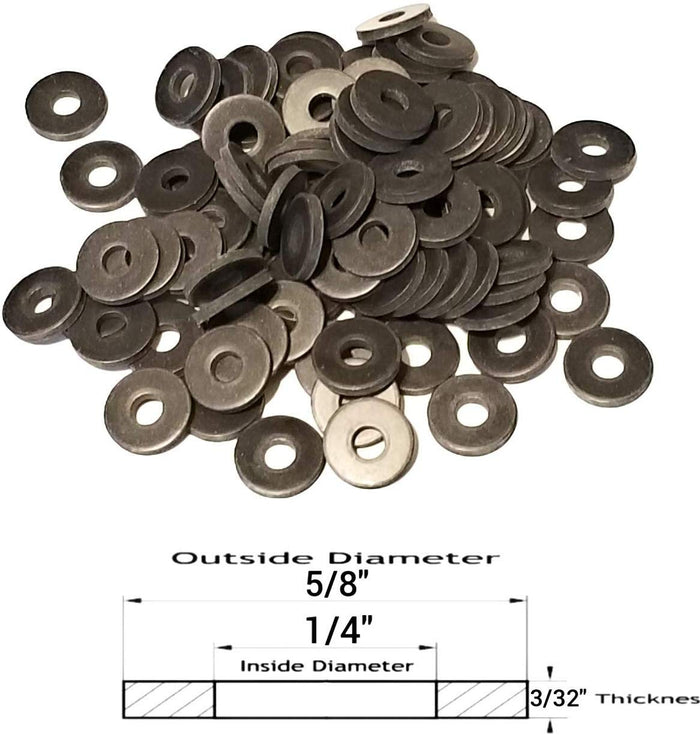 "(50) Neoprene Rubber Washers - 5/8"" OD - 1/4"" Screw Hole x 3/32"" Thickness"
