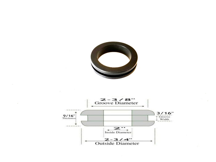 "2"" ID Rubber Grommet - 3/16"" Groove Width - Fits 2-3/8"" Panel Hole"