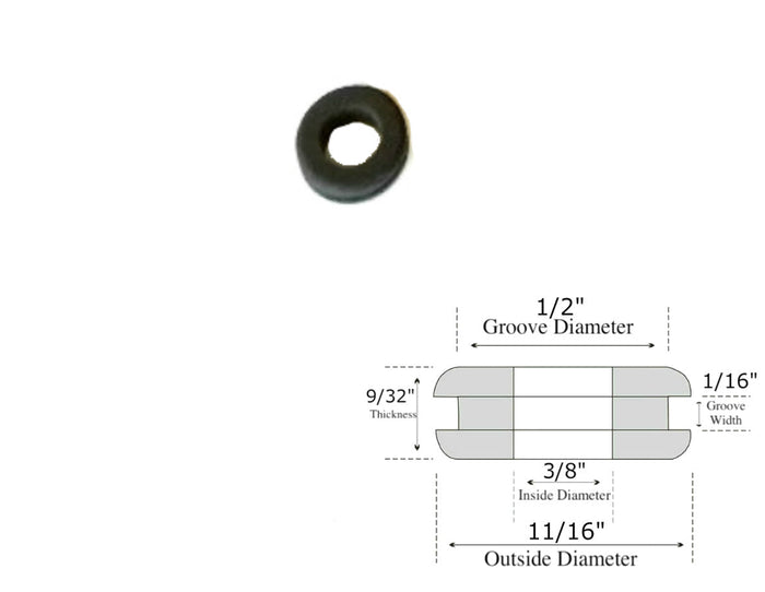 "3/8"" Inside Diameter Rubber Grommet - 9/32"" Thick - Fits 1/2"" Holes"