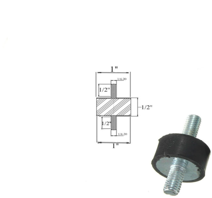 "Rubber Vibration Isolator Mount (1"" Dia x 1/2'' Thk) 1/4-20 x 1/2"" Long Studs"