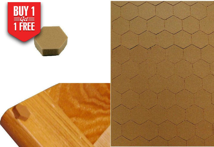Self Adhesive Hexagon Foam Bumpers For Cabinet Door Drawer Butterscotch Brown