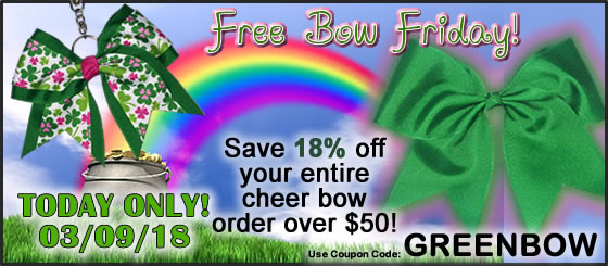 Free Bow Friday | Coupon | St. Patricks Day | Green Cheer Bows