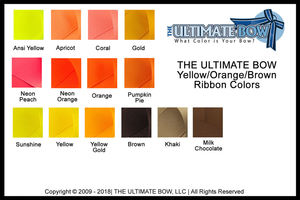 cheer bow colors | Yellow ribbon | Orange Ribbon | Color chart | Brown Ribbon