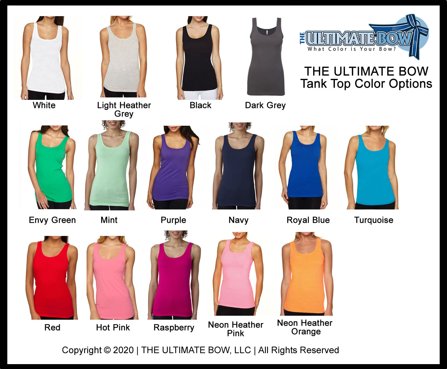Ladies Jersey Tank Top Color Chart