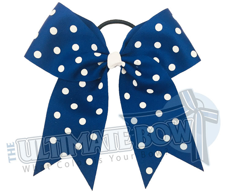 royal-blue-white-polka-dot-cheer-bow - Hair Bow - Softball Bow