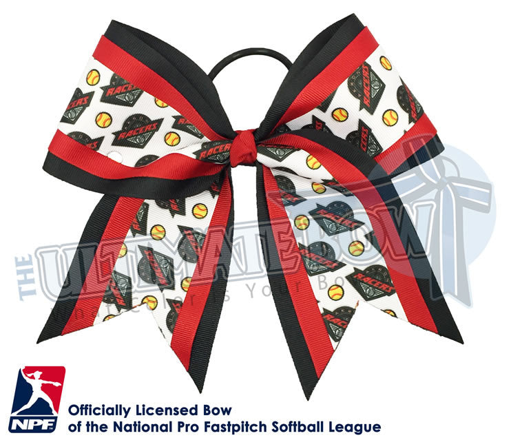 Akron-Racers -Hair-bow-softball-licensed-triple-play-official-logo-professional-softball-NPF-National_Pro_Fastpitch-Softball-League