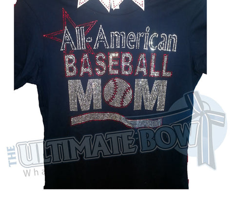 All-American Baseball Mom Rhinestone T-Shirt