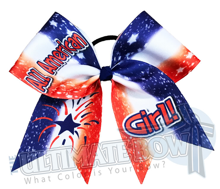 All American Girl Cheer Bow | USA Cheer Bow | USA Pride Cheer Bow | Sublimated USA Cheer Bow
