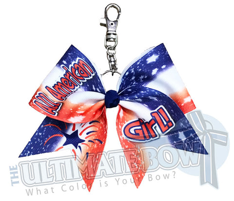 All American Girl Key Chain - Red, White and Blue Cheer Bow | Team USA Cheer Bow