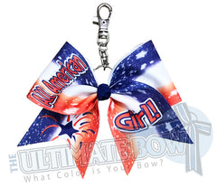 All American Girl Key Chain Cheer Bow | USA Keychain Cheer Bow | USA Pride Key Chain Cheer Bow | Sublimated USA Key Chain Cheer Bow