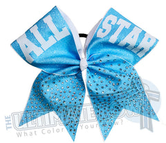 All Star Rhinestone Glitter Cheer Bow | Neon Blue Glitter | All Star Cheerleading | Varsity Cheer | High School Cheerleading | Personalized Cheer Bow