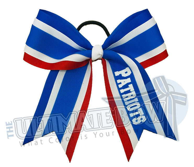 College Cheer Bow | Personalized Cheer Bow | Patriots | Red | Electric Blue | Royal Blue